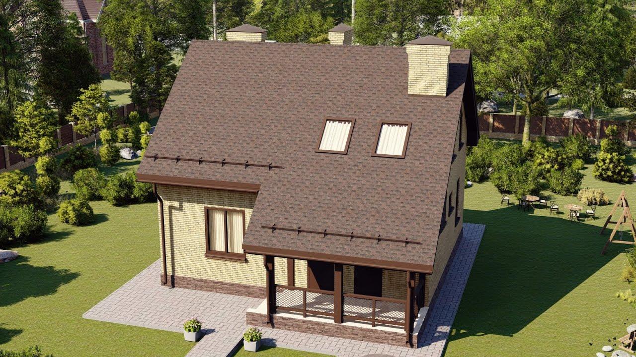 Проект дома из пеноблоков с облицовкой кирпичом 136 м2