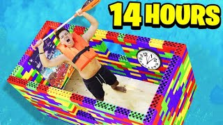I Spent 24 HOURS in a GIANT LEGO Boat! - Challenge