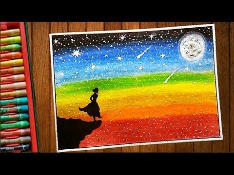Galaxy Stars Night Scenery Drawing Using Oil Pastel Step By Step