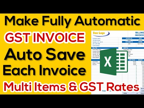 Make Fully Automatic GST Invoice | Bill in Excel | Auto Save Each Invoice | Multi Items & GST Rate