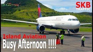 Busy Afternoon !!! DA A320, AA A320, AA 738, UA 738, BA 777-200....@ St. Kitts (Ramp View)