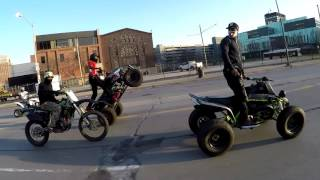 Dirt Bikes + Quads Takeover Downtown Detroit RAW FOOTAGE