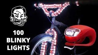 100 Blinky Bike Lights On A Fat Tire BMX