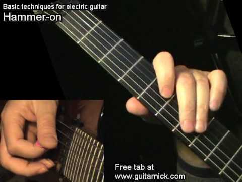 Hammer-On for beginners - electric guitar lesson, learn how to play