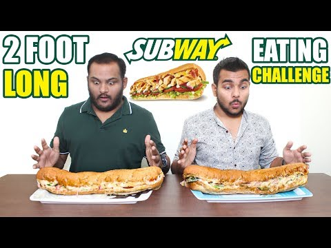 2 FOOTLONG SUBWAY EATING CHALLENGE | SUBWAY SUB EAT OFF | FOOD CHALLENGE