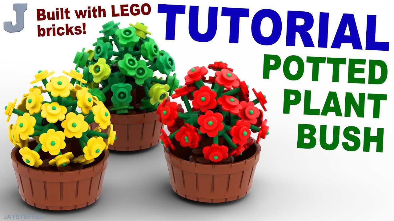 LEGO Tutorial On How To Build A Potted Bush Plant