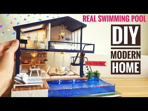 DIY Miniature Modern Party Home (with Real Swimming Pool)