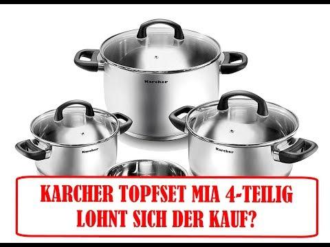 Karcher Topfset Mia aus Edelstahl, Kochgeschirr Induktion Kochtopf Set, Töpfe mit Glasdeckel