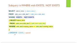 SQL  subqueries - Lesson 8 (EXISTS, NOT EXISTS, ALL, ANY)