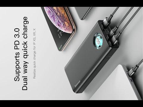 Умный повербанк Baseus 20000 мА/ч с 2 портами USB и поддержкой Quick Charge 3 QC3 и Type C