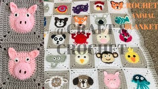 Crochet Pig/Crochet Blanket Pattern/ Crochet Animal Blanket/Part:25