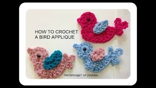 HOW TO CROCHET A LITTLE BIRD APPLIQUE, Crochet Trims And Embellishments