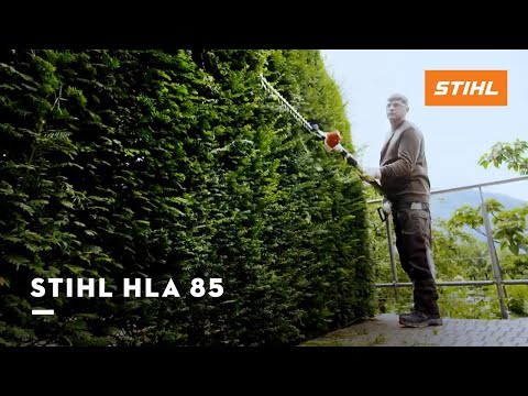 Hoe werkt de accu heggenschaar op steel HLA 85?