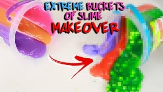 EXTREME BUCKET OF SLIME MAKEOVER ~ fixing store bought slimes! Slimeatory #483