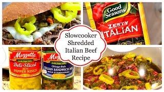 Slow Cooker Shredded Italian Beef Sandwiches Recipe