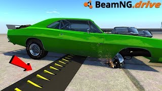 BeamNG Drive hitting spike strips at high speed