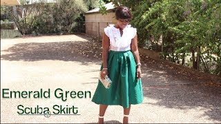 Outfit Of The Day|| Emerald Green Scuba Skirt