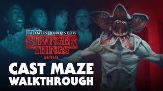 Stranger Things Cast Gets Scared during Maze Walkthru - Halloween Horror Nights 2018