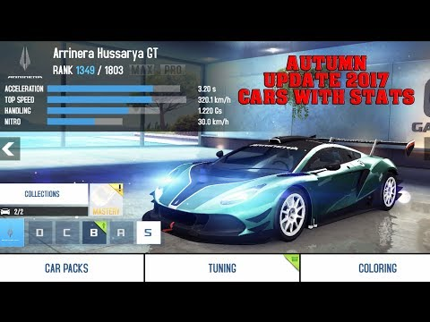 Asphalt 8 - AUTUMN UPDATE 2017 CARS (WITH STATS)