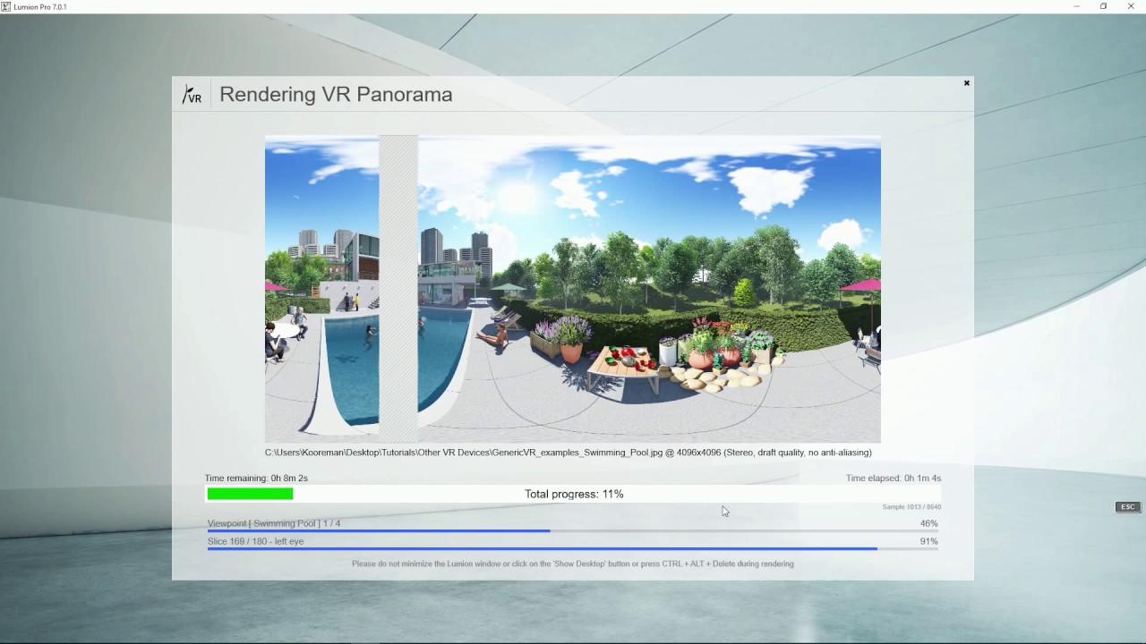 パノラマモード:汎用VRデバイス用レンダリング(Lumion7 series)