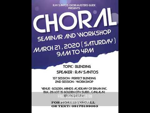 Choral Workshop and Seminar 2020! Register na!