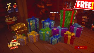 "Fortnite HOW TO UNLOCK ALL YOUR WINTERFEST PRESENTS! ""Search the holiday Stocking in the cabin"""
