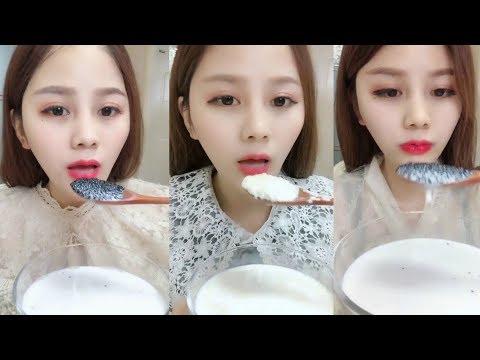 Dondurulmamış Sulu Susamlı Süt Yemek #134 ASMR ( Eating Juicy Sesame Milk)