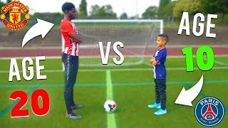 10 YEAR OLD KID vs 20 YEAR OLD FOOTBALL CHALLENGES (NEXT NEYMAR JR)