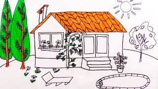 Learn Colors with Colored Markers | How to Draw a House for Kids | House Coloring Pages for Children