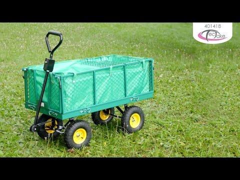 Chariot de jardin pliable XXL avec bâche et plateau | TecTake