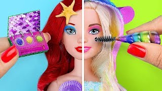 12 DIY Miniature Unicorn Makeup vs Mermaid Makeup Challenge! / Clever Barbie Hacks And Crafts