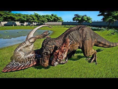 ? Jurassic World Evolution - 2 Tyrannosaurus Rex Vs 2 Spinosaurus Fight (Dinosaurs Battle)