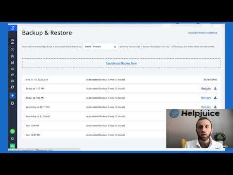 Helpjuice: Restoring & Backing up your Knowledge base
