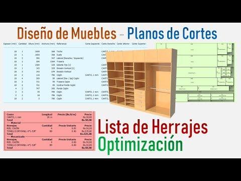 Diseño De Muebles - Planos De Cortes - Lista De Herrajes - Optimización De Cortes
