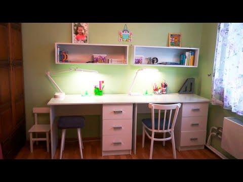 Организация пространства девочек школьниц | Купили белые письменные столы | Рабочее место школьника