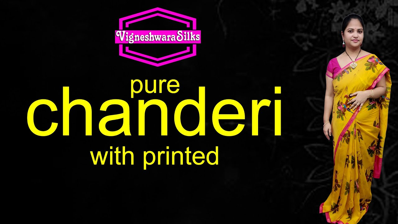 """<p style=""""color: red"""">Video : </p>Pure chanderi with printed  