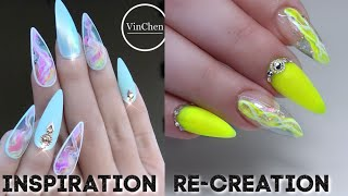 SCULPTED ALMOND NAILS | NEON YELLOW GLITTERBELS | INSPIRED BY VINCENT NAILS