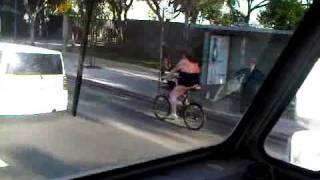Crazy MAN in a thong....ON A BIKE!!!