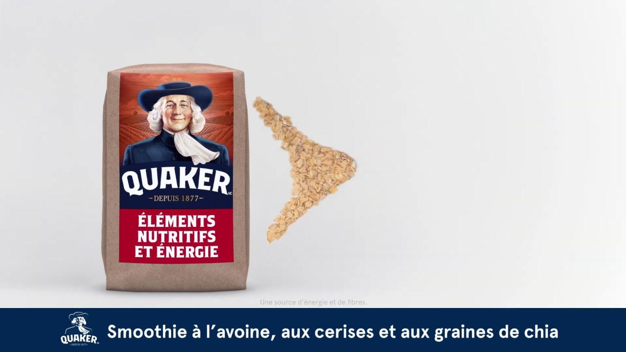 Gruau Quaker<sup>®</sup>  Smoothie à l'avoine, aux cerises et aux graines de chia