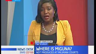 Lawyer Edwin Sifuna gives an update on the ongoing case against Miguna Miguna at Milimani Law Courts