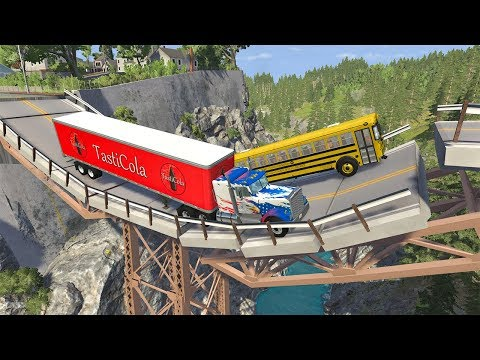 Collapsing Bridge Pileup Car Crashes #28 - BeamNG DRIVE | SmashChan
