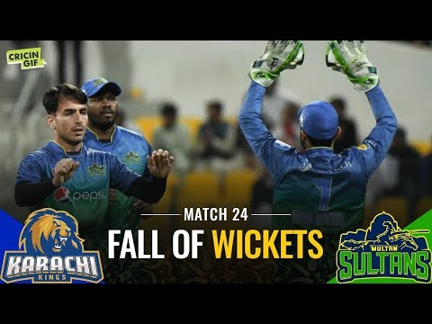 PSL2019 Match 24: Karachi Kings vs Multan Sultans | PEL Fall of Wickets