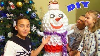 СНЕГОВИК из пластиковых стаканчиков DIY Настя Саша папа и мама поют вместе Snowman of cups Holidays