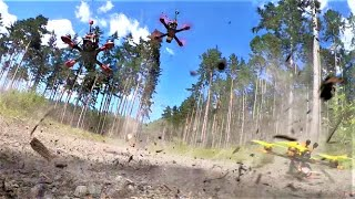 FPV diving training in the forest and crash