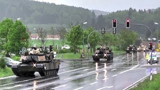 U.S. Tanks & Howitzers Passing Through German Town