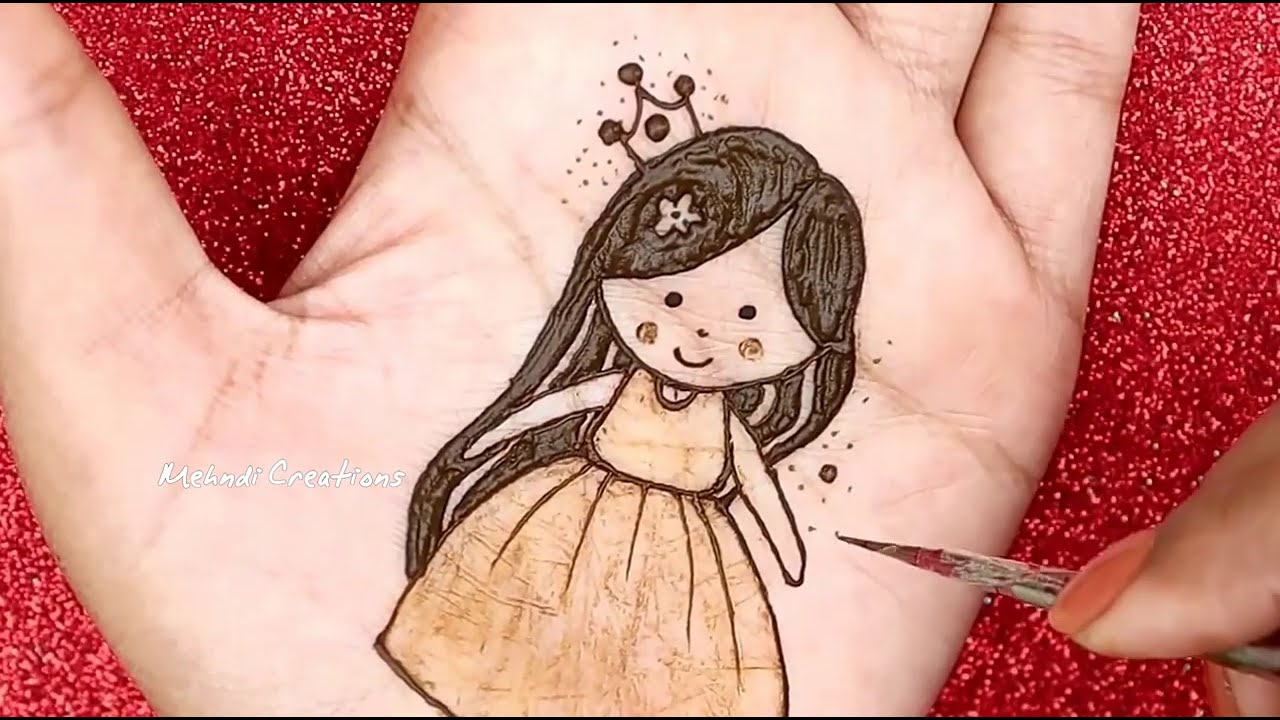 how to draw cute princess mehndi design for kids by mehndi creations