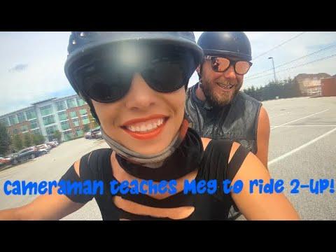 Cameraman teaches Meg to Ride with a Passenger!!!