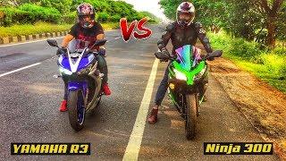 YAMAHA R3 VS KAWASAKI Ninja 300 DRAG RACE   TOP END   HIGHWAY BATTLE
