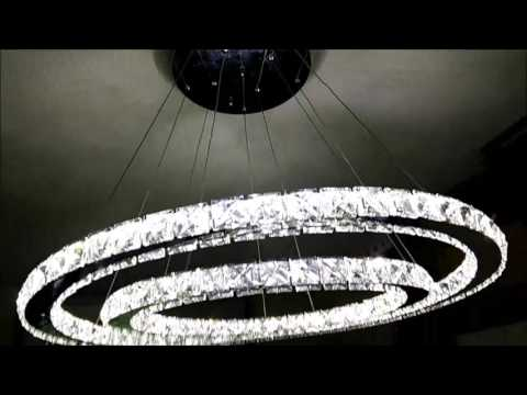 50W 2 Ringe LED kristall Deckenleuchte  dimmbar/Farbtemperatur einstellbar mit Fernbedienung