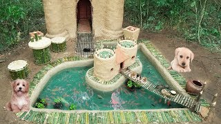 Rescued Abandoned Four Puppies Build Castle House And Fish Pond Around